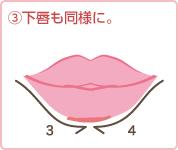 (3)下唇も同様に。