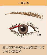 一重の方:黒目の中央から目尻にかけてラインをひく
